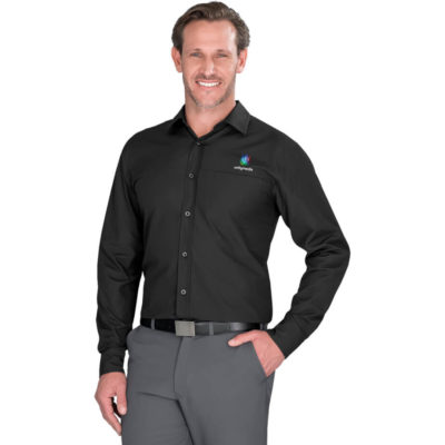 The Mens Long Sleeve Empire Shirt is a polyester and cotton poplin blend in black. With a full length button up panel, adjustable cuffs and a concealed pocket on the front left chest