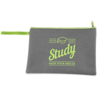 The Fraternity Universal Pouch is a grey 600D fabric pouch with a lime green zip closure and hanging loop
