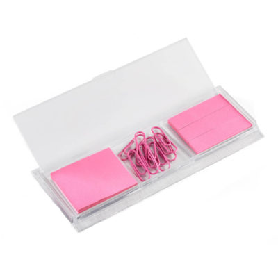 The Reliance Stationery Set comes in a case and contains orange note paper, paper clips and sticky flags
