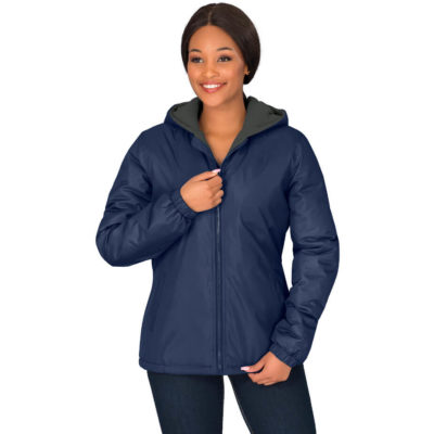 The Ladies Hamilton Jacket is made from 100% polyester with PVC coating, polar fleece lining with a polyester wadding fully padded jacket with hood