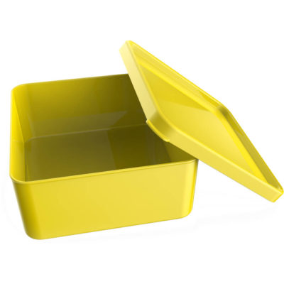 The Arcadia Lunch Box is a yellow PP square lunch box with rounded edges and a securely fitted lid