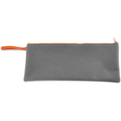 The Graduate Pencil Case 600D is solid grey with orange zip closure.
