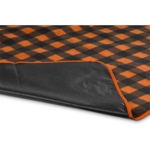 The Everglades Picnic Blanket is a 600D and fleece blanket with a brightly coloured black and orange checkered design, waterproof black underlining and can fold up for easy carrying