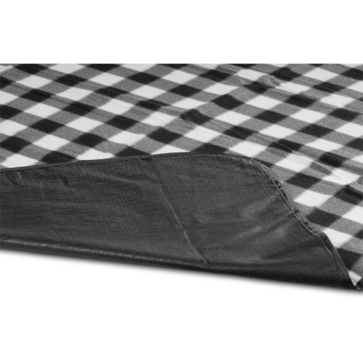 The Everglades Picnic Blanket is a 600D and fleece blanket with a brightly coloured black and white checkered design, waterproof black underlining and can fold up for easy carrying