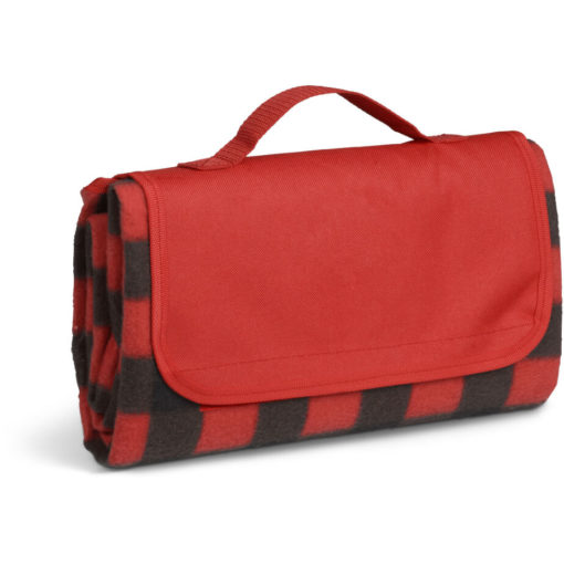 The Everglades Picnic Blanket is a brightly coloured black and red checkered design picnic blanket that can be rolled up and has a carry handle