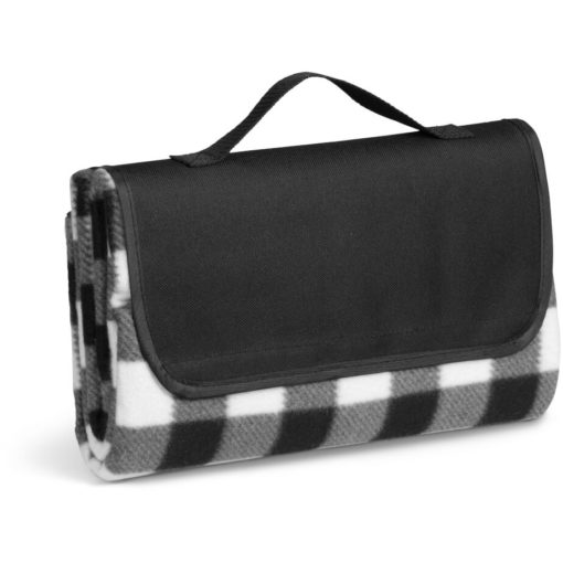 The Everglades Picnic Blanket is a brightly coloured black and white checkered design picnic blanket that can be rolled up and has a carry handle