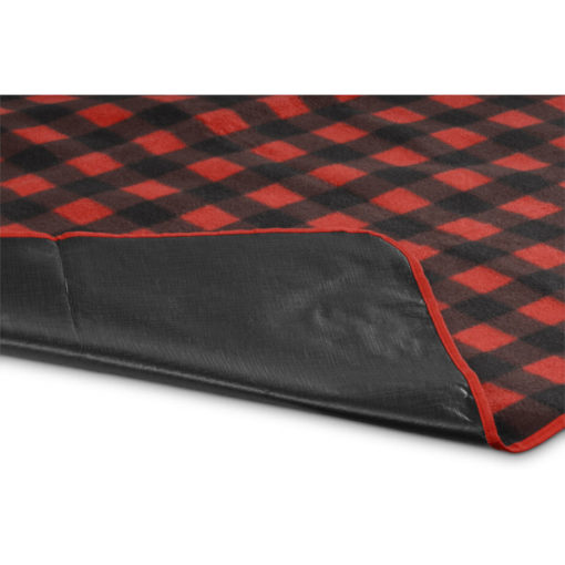 The Everglades Picnic Blanket is a 600D and fleece blanket with a brightly coloured black and red checkered design, waterproof black underlining and can fold up for easy carrying