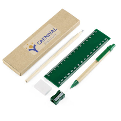 The Genius Eco-Logical Stationery Set has essential stationery in green. Packaged in a box. Items are eco-friendly