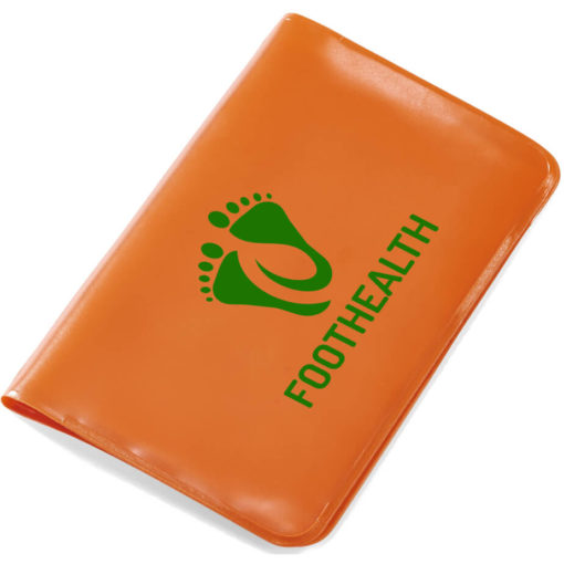 The Mini Survivor First Aid Kit is an orange PVC sleeve-like holder with first aid essentials