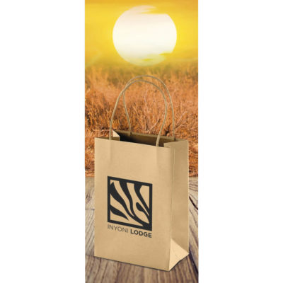 The Memento Ecological Mini Gift Bag is a material kraft paper bag with a twist paper cord. Small size