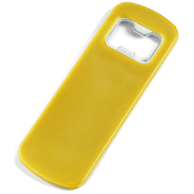 The Pop-It-Off Bottle Opener is a slim design bottle opener with a yellow slim grip and a metal opener