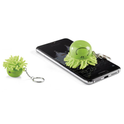 Lime Green Smiley Face Moptopper Screen Cleaner Key Holder With Microfibre Hair