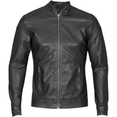 The Mens Rally Jacket is a long sleeve black jacket, with simulated leather and lined with polyester. Adjustable press stud at cuffs, metal zip and open madarin collar. topstitching detail on front panel.