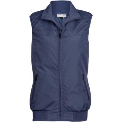 The Ladies Colorado Bodywarmer is 100% polyester outer and inner navy bodywarmer. Elasticated armhole, ribbed detail on hem, slanted zip pockets with inner zip for embroidery access. Stitching detail.