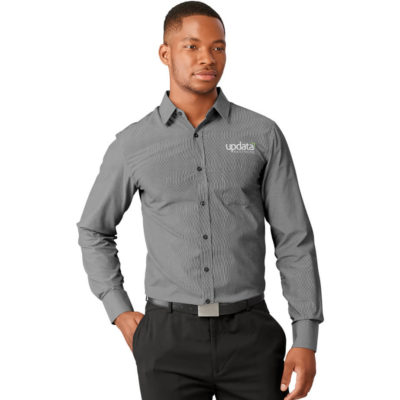 The Mens Long Sleeve Northampton Shirt is a polyester/cotton blend, long sleeve black shirt with adjustable cuffs. With a box pleat on the back yoke and a yarn-dyed strip pattern.