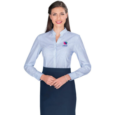 The Ladies Long Sleeve Birmingham Shirt is a polyester/cotton blend, light blue printed stripe pattern and side slits. Mandarin collar with an open neckline, hemline is curved, front and back darts for shaping and sleeves have adjustable cuffs.