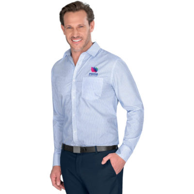 The Mens Long Sleeve Birmingham Shirt is a polyester/cotton blend, light blue printed stripe pattern. Patch pocket on left chest, sleeves have adjustable cuffs and theres a box pleat on the back and full length button placket on the front.