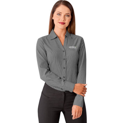 The Ladies Long Sleeve Northampton Shirt is a polyester/cotton blend, long sleeve with turn up cuffs black shirt with adjustable cuffs. Front and back darts for shaping with an open collar, curved hem and side slits