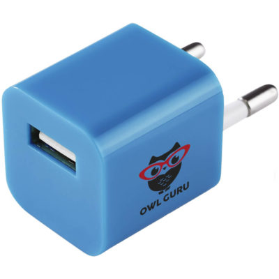 The Otley USB Wall Charger is a cyan wall charger that fits into a two prong plug socket. Made from ABS plastic with a output of DC 5V/1A and a input of 100-240V/50-60Hz.