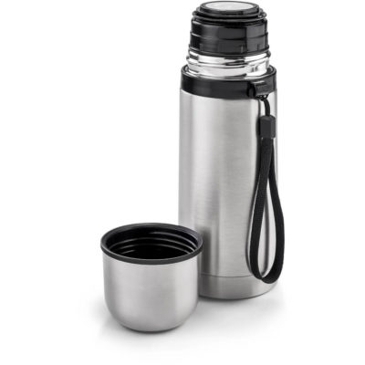 The Polar 350Ml Double Wall Flask has a stainless steel inner and outer layer with a wristband strap attached. BPA free. Open to display the lid and removable screw cap that can be used a cup