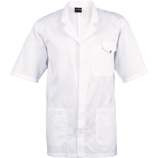 The All-Purpose Short Sleeve Lab Coat White made from poly cotton. With front pockets on the hem a concealed front opening with press studs and a one piece collar. Chest collar has a pen slot and flap closure. Back hem vent