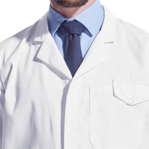 The All-Purpose Short Sleeve Lab Coat White pocket and collar detail with a pen slot and flap closure. One piece collar