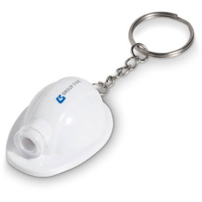 The Construction Torch Keyholder in White with a metal keyring