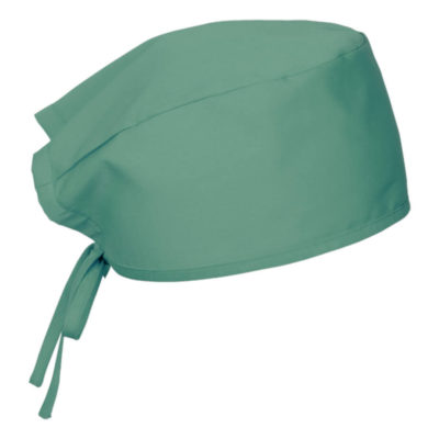 The Theatre Cap is a green 180g poly cotton medical headwear item with self fabric ties on the back to find your most comfortable fit.