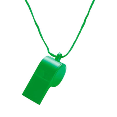 The Plastic Whistle is a green PS whistle with a nylon neck cord