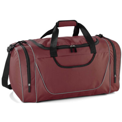 The Championship Sorts Bag is a large maroon bag with three zip compartments and tubing details