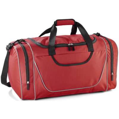 The Championship Sorts Bag is a large red bag with three zip compartments and tubing details