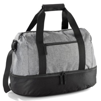 The Misty Hills Double Decker is a grey bag with black zip detail. Large main zip compartment, bottom zip compartment and a small zip front pocket