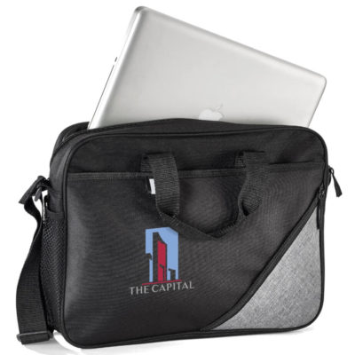 The Misty Hills Laptop Bag with an adjustable shoulder strap, mesh side pockets, front pocket with reflective tab and diagonal zip pocket and a black accent