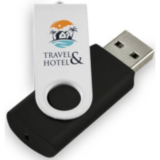 The Flashback Black Memory Stick in black with white swivel cover