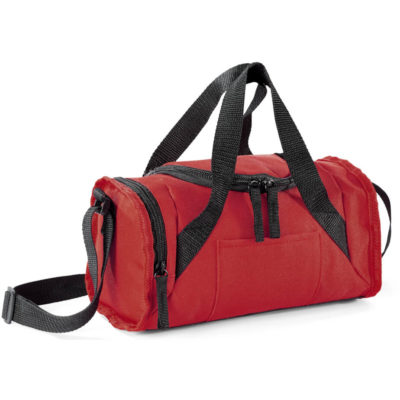The Erindale 6-Can Cooler is a red mini sports bag cooler with adjustable shoulder strap, front zip and side zip pocket. PEVA lining