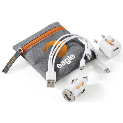 The Ignite Tech Set conatins a wall charger, car charger, 3in1 charging cable packaged in a great pouch with orange zip
