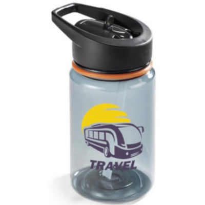 The Trenton Water Bottle is a charcoal 400ml bottle with a black lid and cyan accent around the neck