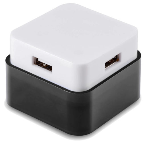 The Rhombus USB Hub is a black and white cube with 4 USB ports