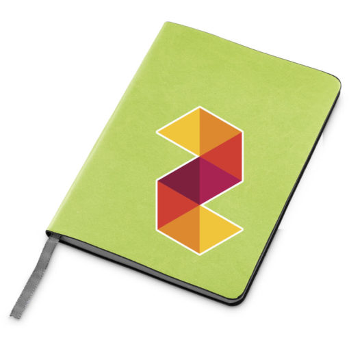 The Tuscany Midi Notebook is a lime green A5 notebook with 160 lined pages, grey edges and a silver ribbon bookmark