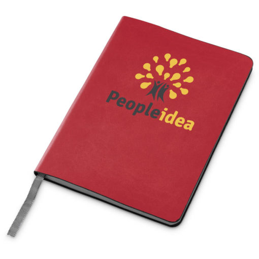 The Tuscany Midi Notebook is a red A5 notebook with 160 lined pages, grey edges and a silver ribbon bookmark