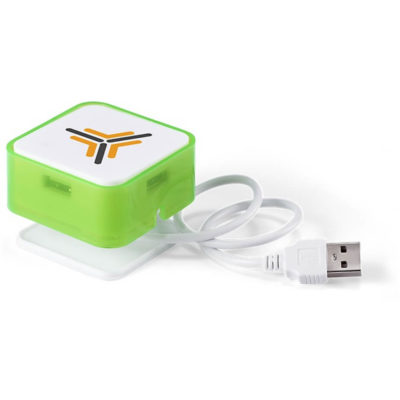 The Rhombus USB Hub is a lime green and white cube with 4 USB ports