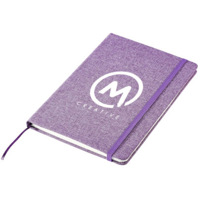 The Hemingway A5 Notebook is purple 300D fabric cover notebook with 160 lined pages, elastic band and satin ribbon placeholder