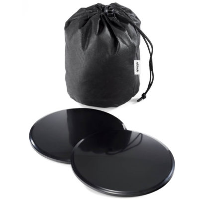 The Endurance Sliding Discs are two black discs with a non-woven drawstring pouch
