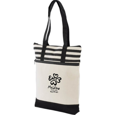 The black Earth Tone Tote is made from 100% cotton with a front zip pocket and has self fabric carry handles.