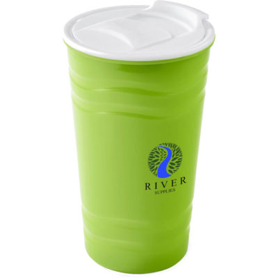 The Wavy Double Wall Tumbler is a lime green plastic tumbler with a 450ml capacity and white lid