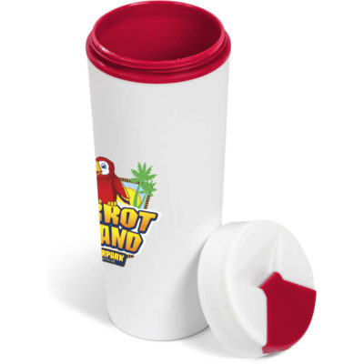 The Laguna Double-Wall Tumbler is a white PP double wall tumbler with a 460ml capacity with a red silicone tight screw on lid with flip top drinking nozzle