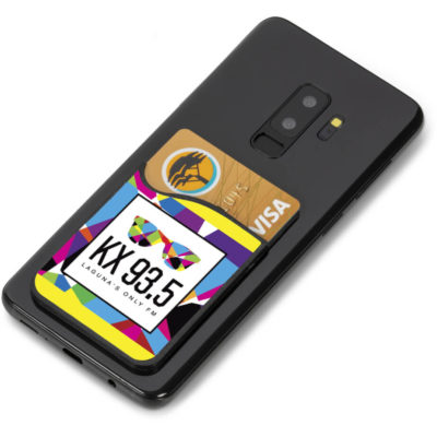 The Arcade Phone Card Holder is a rectangular silicone card holder with a mobile phone cleaner pocket and an adhesive backing to attach to your mobile device
