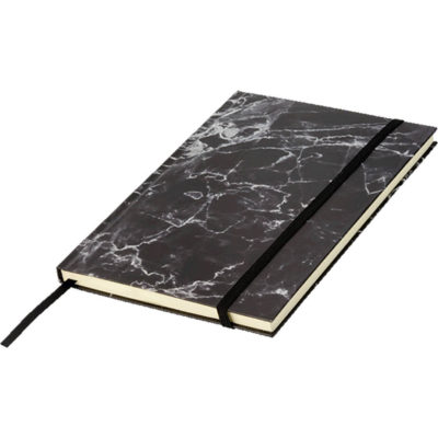 The A5 Marble Design Notebook consists of 96 lined pages with a ribbon book marker, an elasticated band closure and a designed cardboard cover.