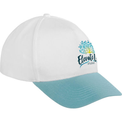 The Norbury Cap has 5 x white panels with a sky blue pre-curved peak, 6 x rows of stitching and 4 x embroidered eyelets. Made from 100% cotton twill fabric with a self-fabric velcro closure.