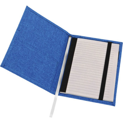 The A5 Mélange Notebook With Front Pocket has a blue poly-canvas mélange cover with a front and inner pocket, a pen loop, ribbon bookmarker and consists of 96 lined pages